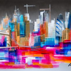 Adriana Naveh, London Landscape, 2018, Oil on Aluminum, Covered with Lacquer, 80 x 150 cm