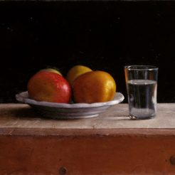 Aram Gershuni, Mangos with Glass, 2015, Oil on Wood, 42 X 52 cm