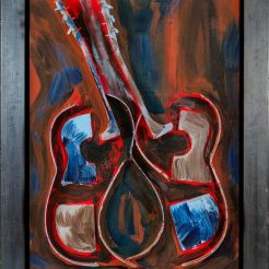 Arman, Untitled, Sliced Guitar with Acrylic Paint (burnt sienna, red cerulean blue, ultramarin blue, forest green, gray, burnt umber) on Canvas, 80 x 60 cm (2)