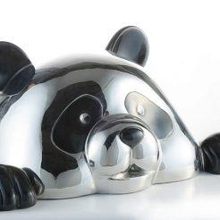 Hiro-Ando,-Hello-PandaSan-Black-Silver,-30x70x40cm