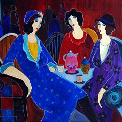 Itzchak Tarkay_ Ladies_ Acrylic on Canvas - 80 x 100 cm - 2