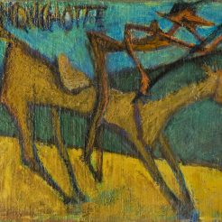 Marcel Janco, Don Quixote, Oil on Canvas Mounted on Board - 44 x 60 cm - 1