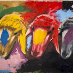 Menashe-Kadishman_-Acrylic-on-Canvas---241x560-cm