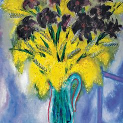 Reuven-Rubin_-Mimosas-and-black-irises_-Oil-on-Canvas--81-x-65-cm