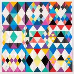 Yaacov Agam, Yaacov Agam, Andromeda, Color screenprint on three-dimentional PVC, numbered AP lower left, 55x55x9 cm