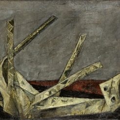 Yosl-Bergner_-Wooden-horse_-1958_-Oil-on-Canvas-53.5-x-80-cm-87
